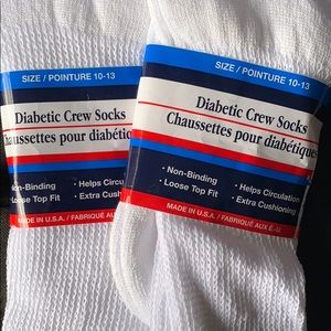 Other - Diabetic Crew Socks Size 10-13 new 2 pair  NWT